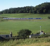 A special occasion. The first train (0845 from Tweedbank) on the first day of service on the re-opened Borders Railway. Three Class 158 units are seen pulling away northwards from the stop at Stow heading for Edinburgh on 6th September 2015. <br><br>[Bill Jamieson&nbsp;06/09/2015]