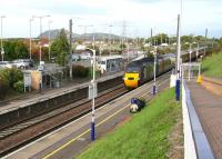 The Sunday 1008 CrossCountry Edinburgh - Penzance service, formed by an HST, runs through Musselburgh on 25 October 2015. The train is approximately 5 minutes into its ten and a half hour journey. <br><br>[John Furnevel&nbsp;25/10/2015]