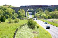 A GNER Aberdeen bound HST heads north over Markinch Viaduct on 1 May 2005. The station is off picture to the left. View is east along the A911 road towards the Fife coast.<br><br>[John Furnevel&nbsp;01/05/2005]