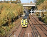 ScotRail 158867 takes the Borders line at Newcraighall North Junction shortly after leaving Newcraighall station on a bright and sunny 1 November 2015. The train is the 1011 Edinburgh - Tweedbank.<br><br>[John Furnevel&nbsp;01/11/2015]