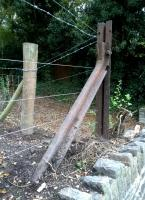 They're a bit keen on bridge rails down Somerset way see image [[53123]]. These fine examples (there are at least four posts) hold up a fence near the new footbridge at Shockerwick.<br><br>[Ken Strachan 10/10/2015]