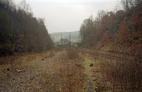 At the east/south end of the closed portion of the Woodhead Route is the former Deepcar station. The station can be seen in the distance in this 2002 view. The remaining track serves the Stocksbridge Steelworks and an exchange yard is just west of this point.<br><br>[Ewan Crawford&nbsp;//2002]