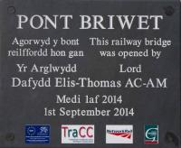 Slate plaque at Llandecwyn station commemorating the opening of the nearby bridge over the Afon Dwyryd.<br><br>[Colin McDonald&nbsp;14/10/2015]