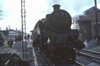 Standard tank 80121 following its arrival at East Kilbride on 15 April 1966 with the last steam hauled service from St Enoch. <br><br>[John Robin&nbsp;15/04/1966]