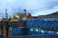 Seen here from the Clydeside Expressway pedestrian bridge at dusk on 7th November, major work on the bridge at Sandyford Street took place over the weekend of 7-8th November 2015, closing both Queen Street and Central Low level lines.<br><br>[Colin McDonald&nbsp;07/11/2015]