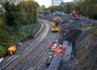 Gabion baskets being filled at the site of the new connecting line with the North Bank Electric lines during the line closure on 7th November 2015. <br><br>[Colin McDonald&nbsp;07/11/2015]