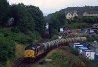 37401 reversing an oil train into the siding from Oban Goods ground frame in the 1990s. The siding was 'taken out of use' in 2011 after a period of disuse.<br><br>[Ewan Crawford Collection&nbsp;//]