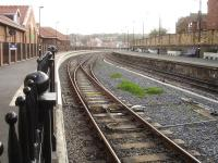 The new dedicated NYMR platform at Whitby, showing the pointwork from the loco release headshunt onto the run round loop, with the Northern Rail Esk Valley line  on the right. [See image 21258]<br><br>[David Pesterfield&nbsp;23/10/2015]