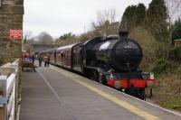 K4 no.61994 'The Great Marquess' arrives back at Leyburn on 21 March 2015 whilst working the 1Z48 leg of the Wensleydale and Durham Coast railtour. K1 no.62005 was on the rear of the train having earlier hauled the 1Z46 leg up to Redmire. <br><br>[John McIntyre&nbsp;21/03/2015]