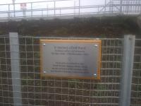This plaque, recently affixed to the platform fencing at Shawfair, commemorates the life of local railway historian and author, Jeff Hurst.<br><br>[John Yellowlees&nbsp;14/11/2015]