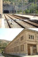 Portbou lies between two hills with tunnels to the north and south, with the northerly one crossing the border into France. The upper image shows the main tunnel south for the RENFE broad gauge tracks to Figueres, Girona and Barcelona. The lower image shows the opposite side of the large south end station building, beyond which there is a smaller tunnel for the SNCF standard gauge tracks from France serving the external platform at the station [See image 53237]. This may be a dead end tunnel to provide a headshunt for run round purposes beyond the restricted space around the station. <br><br>[David Pesterfield&nbsp;07/08/2015]