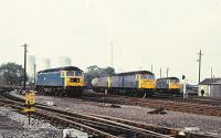 A gaggle of 47s in the station sidings at Didcot, 09 October 1982. Left to right - 47124, 47193, 47248 and 47191.<br><br>[Peter Todd 09/10/1982]