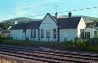 Thankerton station building viewed from the east side in 1989, with some hints of the platforms remaining.<br><br>[Ewan Crawford&nbsp;//1989]