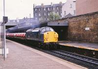 37068 westbound through Edinburgh Haymarket on 1 October 1982. The EE Type 3 was withdrawn in 1995 but lingered around for ten years in storage before being cut up at Booths, Rotherham in 2005<br><br>[Peter Todd&nbsp;01/10/1982]