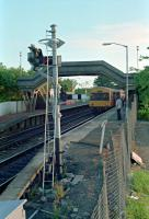 Arrival of a DMU at Cumbernauld in 1989. View looks south.<br><br>[Ewan Crawford&nbsp;//1989]