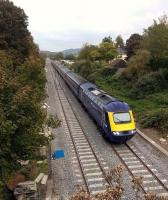 A Bristol-bound HST passes Bathampton Junction on its way to Bath Spa on 10th October 2015. The ballast looks very clean, as the junction was recently relaid.<br><br>[Ken Strachan 10/10/2015]