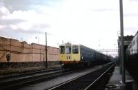 A BRCW DMU is prepared for moving off Longsight shed on 19 May 1970. The destination blind is showing Manchester London Road although that station had been renamed Manchester Piccadilly some 10 years earlier.<br><br>[John McIntyre&nbsp;19/05/1970]