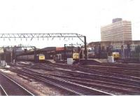 Three services wait at the north end of Crewe station on 10 June 1971. The electric loco on the left is probably a service to Liverpool, the Metro Cammell DMU probably to Chester while the Class 50 on the right would be heading for Preston or even further north.<br><br>[John McIntyre&nbsp;10/06/1971]