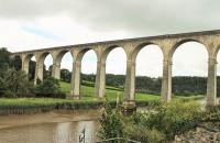 Calstock viaduct, striding across the River Tamar, which is 120' below and still tidal at this point. The viaduct is Grade II listed and a Transport Trust <I>Transport Heritage Site</I> being the largest viaduct in Britain constructed entirely of concrete blocks. [See image 52522] <br><br>[Mark Bartlett&nbsp;29/07/2015]