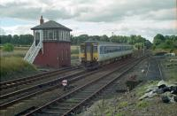 Northbound Sprinter 156496 passes Auchterarder box in 1990, viewed from the end of the platform at the former station.<br><br>[Ewan Crawford&nbsp;//1990]