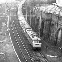 A class 86 about to enter Primrose Hill tunnel on 12 September 1969 shortly after departure from Euston with train 1S57, the down <I>Royal Scot</I>. <br><br>[John Furnevel&nbsp;12/09/1969]