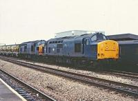 37203 and 37204 passing through Swindon Station bound for Westbury and the Somerset Quarries in December 1982.<br><br>[Peter Todd&nbsp;09/12/1982]