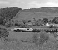 67026 Diamond Jubilee brings up the rear of the Borders Line Steam Special passing Galabank to the north of Stow.  Sunday 20 September 2015<br> <br><br>[Bill Jamieson&nbsp;20/09/2015]