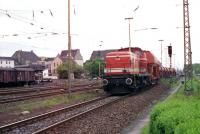 A train of empty stone wagons leaves the DB line at Lippstadt and joins the Westfalisches Landes Eisenbahn line to Warstein. WLE loco no. 638 is seen here making this journey in May 1989.<br><br>[John McIntyre&nbsp;/05/1989]