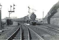 Fowler 2P 4-4-0 40689 pulls away from Ardrossan Town station on 6 July 1959 at the head of a Winton Pier - Kilmarnock train. <br><br>[G H Robin collection by courtesy of the Mitchell Library, Glasgow&nbsp;06/07/1959]