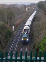 DRS 68007 coasts downhill towards Inverkeithing Tunnel with a Haymarket - Cowdenbeath shuttle service, tailed by 68006.<br><br>[Bill Roberton&nbsp;07/12/2015]