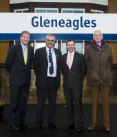 Minister for Transport and Islands, Derek Mackay, formally launched the Strathallan Community Rail Partnership today. The announcement was made at Gleneagles Station, which benefitted from a recent £7 million upgrade funded by Scottish Government, Tactran and Perth and Kinross Council ahead of the 2014 Ryder Cup. Building on this successful event the venue was also awarded the rights to host Solheim Cup in 2019.<br><br> <br><br> This new partnership, funded by Transport Scotland and the Abellio ScotRail franchise, aims to foster greater community engagement between the railway, the public and local business along the Bridge of Allan – Gleneagles corridor.<br><br> <br><br> From left to right<br><br> Phil Verster, ScotRail Alliance managing director<br><br> Mark Byrne, ScotRail station team manager<br><br> Derek Mackay, Minister for Transport and Islands<br><br> Roger Brickell, Strathallan CRP convener<br><br> [SNS Group image.]<br><br>[ScotRail&nbsp;15/12/2015]