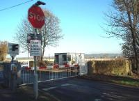 Four Lane Ends level crossing, between Hoscar and Burscough Bridge stations.  This view looks towards the Parbold Hills in November 2009. [Ref query 4961]<br> <br><br>[Mark Bartlett&nbsp;09/11/2009]