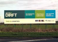 I may be losing count, but I think this hoarding, adjacent to the A5 Southbound, foreshadows DIRFT terminal 4. This will need an overbridge across the A5 similar to that over the A428, and an extension of the existing embankment past DIRFT 3 [see image 52516].<br><br>[Ken Strachan&nbsp;04/12/2015]