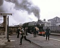 This was taken at Finsbury Park in May 1968. It was a special event that involved a Deltic and 4472 leaving Kings Cross simultaneously.<br><br> <br><br> See this <a target='external' href='http://www.nrm.org.uk/ourcollection/photo?group=Liverpool%20Street&objid=1995-7233_LIVST_TP_1175'>NRM photograph</a> for a view of the train leaving Kings Cross.<br><br>[John Thorn&nbsp;01/05/1968]