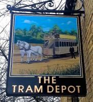 This is the sign from <I>The Tram Depot</I> pub/restaurant in Cambridge [see image 41164]. A nice image, well looked after.<br><br>[Ken Strachan&nbsp;05/12/2015]