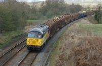 Colas Railfreight 56105 approaches Hoghton on 20 April 2013 with the Carlisle to Chirk log train.<br><br>[John McIntyre&nbsp;20/04/2013]