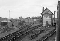 View from a passing train of Limerick Check cabin in 1988.  To the left, the Foynes branch veers to the west past the wagon shops. Mothballed in 2001, fourteen years later the line was being cleared of vegetation and structurally inspected with a view to restarting freight services.<br><br>[Bill Roberton&nbsp;//1988]