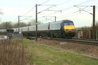 DVT 82213 leads an up ECML service through Barkston South Jct on 18 March 2011.<br><br>[John McIntyre&nbsp;18/03/2011]
