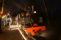 As the children visit Father Christmas at Delph (renamed Toyland for the visit of the big man) on 20 December 2015, Kerr Stuart 0-6-0 T&WT no.2405  'Joffre' waits patiently before coupling up to the train.<br><br>[John McIntyre&nbsp;20/12/2015]