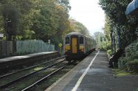 View south at a leafy Jordanstown station in 2004.<br><br>[Ewan Crawford&nbsp;18/10/2004]