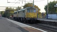 Freightliner class 86s No 86614+86613 work 0L81 from Mossend to Coatbridge FLT light engine move through Coatbridge Central station. They will return as 4L81 Coatbridge - FLT London Gateway<br><br>[Ken Browne&nbsp;29/09/2015]