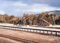 The Strathspey Railway's Aviemore Speyside Station in October 1981 with the footbridge under construction. This bridge came from the GNSR/LNER Station at Longmorn on the Elgin to Rothes line.<br><br>[Peter Todd&nbsp;12/10/1981]