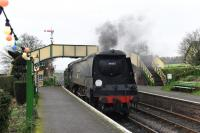 Considering how the Barry <I>Spam-cans</I> looked before restoration, WC 4-6-2 34007 <I>Wadebridge</I> makes a fine sight as it runs light engine into Ropley station on 28th December 2015. <br><br>[Peter Todd&nbsp;28/12/2015]