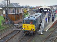 Caledonian Sleeper loco 73966 makes a guest appearance at the Bo'ness and Kinneil Railway's Winter Gala on 3 January, backing on to the 12.30 to Manuel.<br><br>[Bill Roberton&nbsp;03/01/2016]