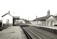 General view of Cardross station looking west towards Helensburgh on 26 October 1957, showing the original buildings and platform height.<br><br>[G H Robin collection by courtesy of the Mitchell Library, Glasgow&nbsp;26/10/1957]