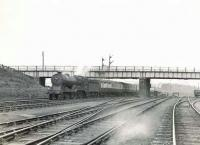 'Director' 4-4-0 62689 <I>Maid of Lorn</I> brings a train from Fife past Eastfield shed on 16 May 1954 on its way to Queen Street. [See image 39805]  <br><br>[G H Robin collection by courtesy of the Mitchell Library, Glasgow&nbsp;16/05/1954]