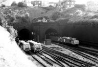 A lot of things have changed since I took this picture West of Newport station in 1987. The sidings on the left are still there, but rather overgrown; and sadly, you won't see 37's on steel trains any more.<br><br>[Ken Strachan&nbsp;/08/1987]