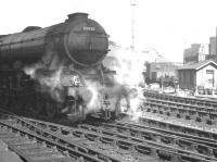 Shrouded in steam. A3 Pacific 60038 <I>Firdaussi</I> awaiting departure time with a train at the west end of Newcastle Central. Thought to have been taken in the latter part of 1959.<br><br>[K A Gray&nbsp;//1959]