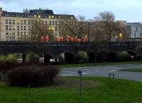 An orange army - or at least a small detachment therefrom - attending to the viaduct West of Bath Spa station at dusk on Boxing Day 2015.<br><br>[Ken Strachan&nbsp;26/12/2015]
