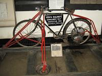 'There you go son, here's a shovel, get on that and go repair the viaduct at Lamington.'<br><br> Preserved motorised cycle used for track inspection.<br><br> Note from Bruce McCartney: That's a Cyclemaster wheel.  They came in two varieties, a 25.7cc and a 32cc version.<br><br>[Alistair MacKenzie&nbsp;17/03/2014]
